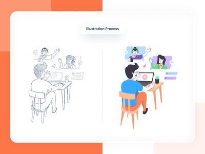 wazwez - Illustration Process ✍🏼 illustrations/ui product company pastel color palette color ui design work concept optimize wfh workfromhome meet call character hero image hero sketch illustration