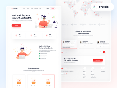 🚀FREE-Landingpage-LaslesVPN location company community figma freebie freebie-friday work landing page server service marketing internet vpn red header clean design illustration website uidesign ui  ux