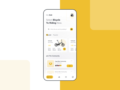 Bicycle Rental Interaction electric folding bike yellow clean design company maps time location iphone ios app bicycle app rental animation ux design interaction ui design bike sport bicycle