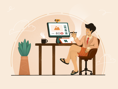 Workolor Illustration graphic design clothes pant wfh work meeting retro warm content concept sketching character fullcolor outfit absurd project freelancer company illustration illustration ui