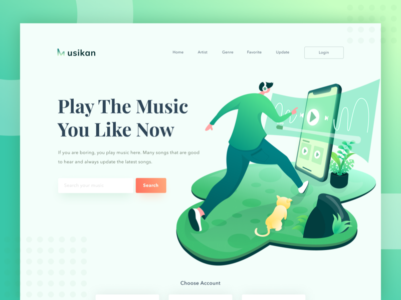 Play The Music You Like Now ux experince interface ui web music landing page header hero design illustration