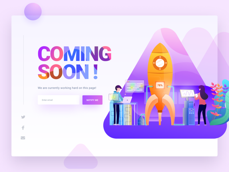 Oopss! We'll be Ready Soon - Coming Soon Page page space working control room control panel building company construction construction website rocket vector design typography web landing page header hero illustration coming soon page