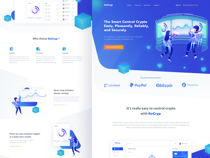 GoCryp Landing Page crypto currency crypto business web ui landing page illustration hero header design company website