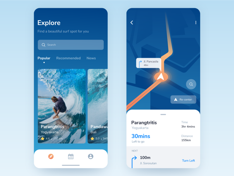 Surf Spot App Exploration beautiful search ios mobile icon maps traveling beach sea surf surfing interface app
