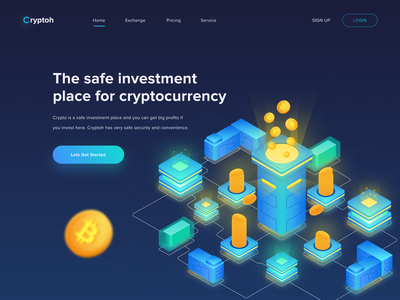 Hero Image - Cryptoh illustration landingpage hero website profit money company ethereum bitcoin investment cryptocurrencies exchange crypto isometric