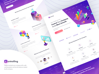 Landing Page - Controlling figma illustration clean design service website starup control company interface ui uidesign landingpage