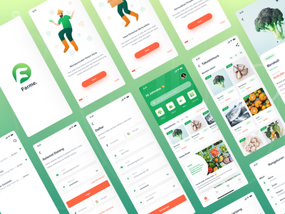 Farme App. ui  ux vegetable user inteface user experience full page platform ios interface groceries fruit farmer ecommerce app design design clean design cart store apps aplication add to cart
