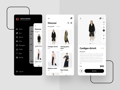 Fashion App interface company clean design minimalist cart eccomerce store fashion ios app uiux ux desgin ui design