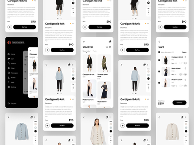 Fashion App clean design minimalist layout exploration layout design design ios app clothing business eccomerce cart fashion store company uiux user experience user interface