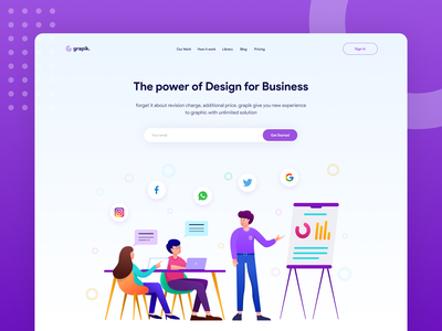 Grapik. freelance agency website agency branding promotion social media business agency company landing page hero illustration uiux web design website