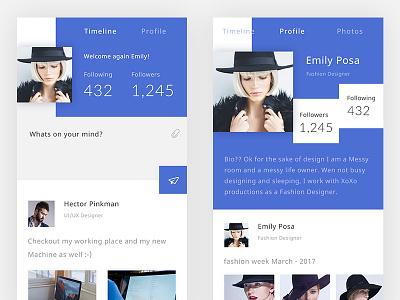 Social App Design Concept  minimal design timeline view social feed mobile material design ios flat interface redesign concept social network user experience designer application ux ui app interface