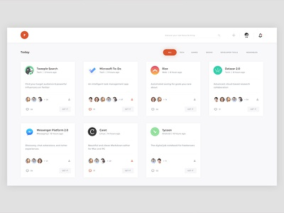 Product Hunt Redesign Concept redesign product hunt flat white ux ui projects minimal interface designer dashboard clean