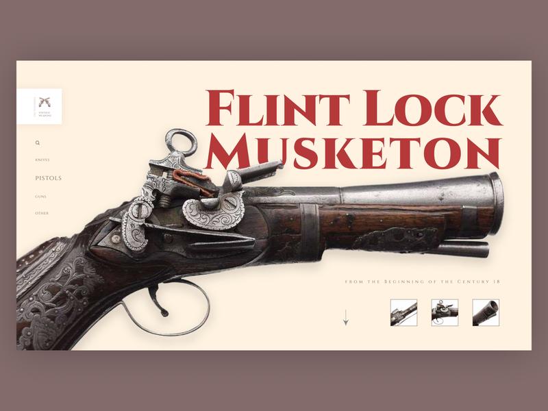 Vintage Weapons minimal typography ux website web ui design