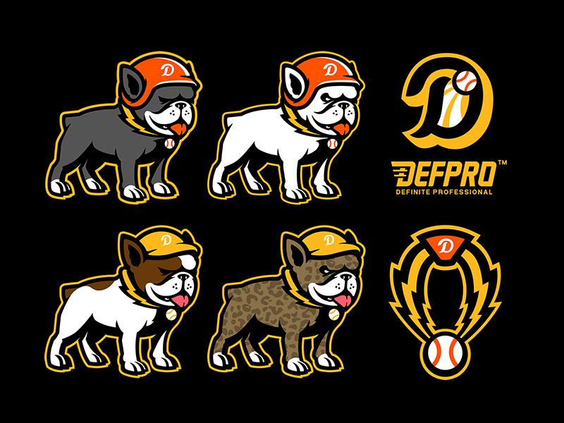 frenchieDOG teamlogo team baseball professional china character art mascot athletic badge typography logo branding sports