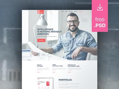 Freelancer freebie clean minimal template webdesign freelancer psd free