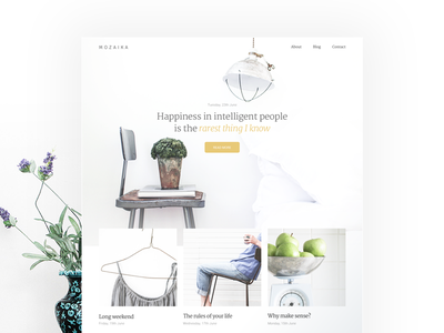 Mozaika psd free clean aesthetic white minimal web design concept blog