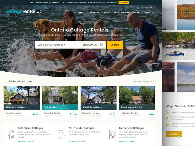 New Homepage for Travel Booking Website muskoka booking rental cottage tourism travel homepage uiux website web design