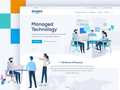 Homepage Shot of Global Technology Firm clean illustration website ux ui web design
