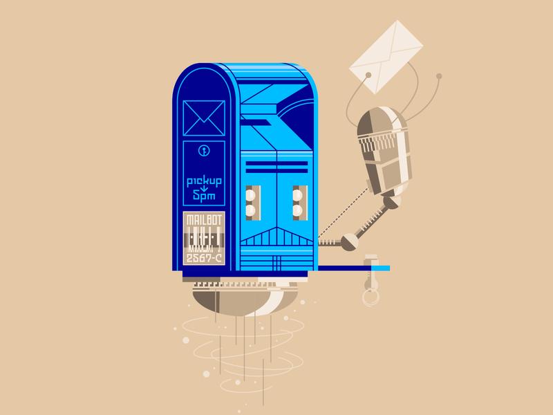 Mailbot v2 mailbox robot design vector illustration