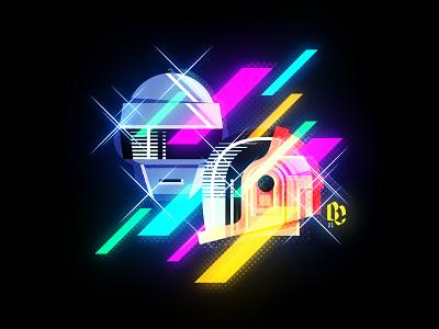 Daft Punk 1993-2021 daft punk daftpunk neon minimal flat vector illustration design