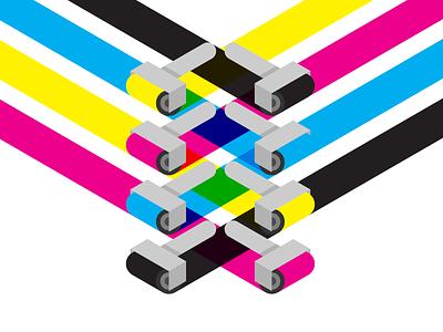 CMYK Brayers brayer cmyk geometic minimal flat vector illustration design