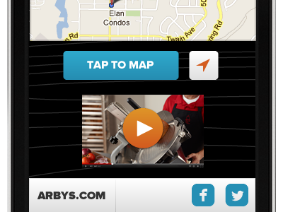 Arby's proxima nova tap to map video arbys fast food qsr location map facebook twitter