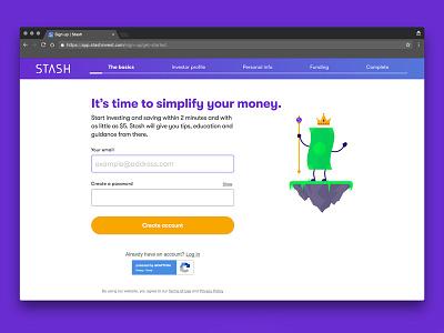 Stash Invest Web Registration webapp stashinvest $5 money registration invest stash