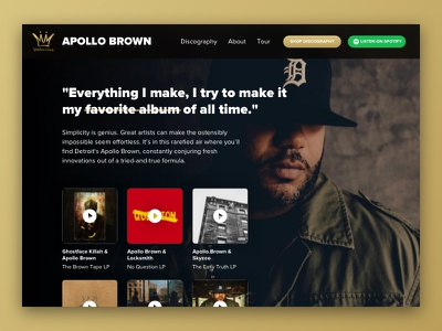 Apollo Brown Mello Music Group Landing Page – Daily UI 003 mello music group gold producer hip hop daily ui 003 web desktop music dailyui landing page apollo brown