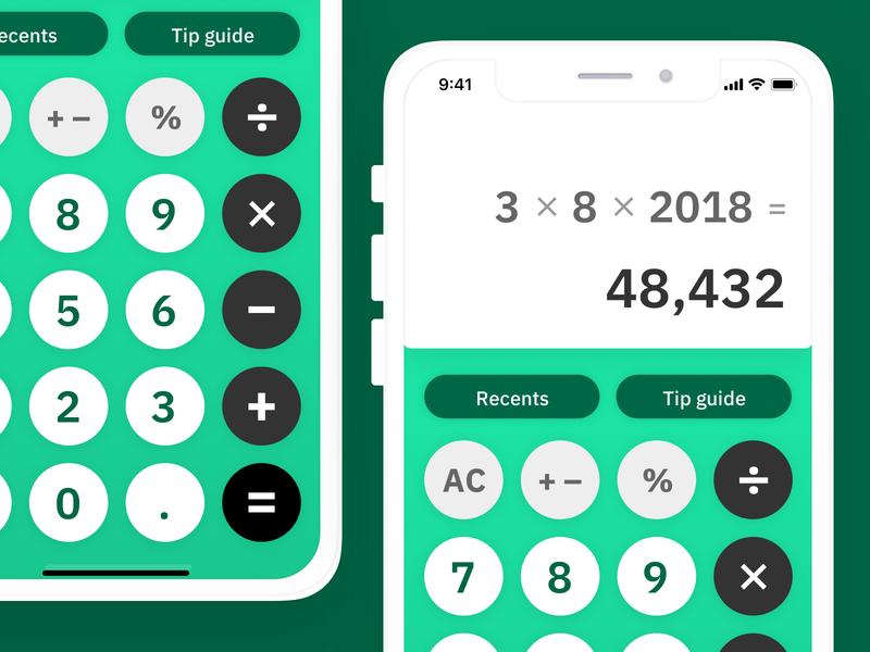 Money Green Calculator – Daily UI 004 mathematics math tips dailyui004 dailyui ibm sans calculator green