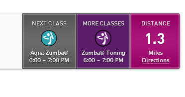 Class Detail Search Results zumba purple pink aqua grey ui shadow search results search results directions distance class