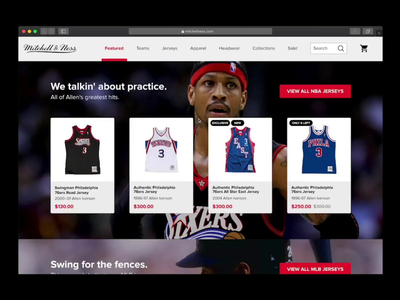 Mitchell & Ness Allen Iverson Jersey Pop Up | Daily UI 016 ecommerce add to cart pop up popup iverson throwbacks jerseys mitchellness animation dailyuichallenge dailyui