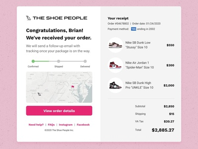 Sneakers E-Commerce Receipt | Daily UI 017 invision invisionstudio purchase tracking ecommerce receipt daily ui 017 sneakers dailyuichallenge dailyui