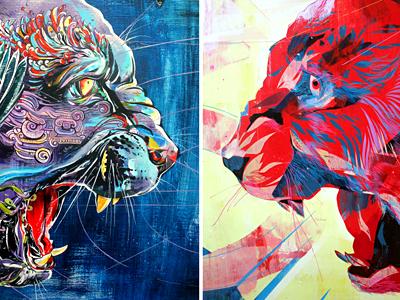 Jaguars - Oakley vs. Lawson jaguar painting paint ink cat mexico dos art exhibit red blue mythology