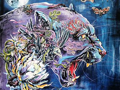 Moon Jaguar  jaguar painting paint ink cat mexico dos art exhibit blue mythology mayan