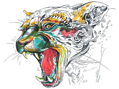Jaguar!  jaguar illustration drawing cat teeth print giclee sale etsy dos art