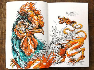 Cockatrice illustration illustrations monster myth rooster bird sketch sketchbook copic makers pen halloween