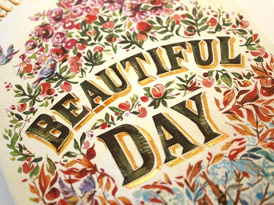 Beautiful Day / Book Cover Lettering illustration books book covers book art design lettering hand lettering tree flowers seasons beautiful
