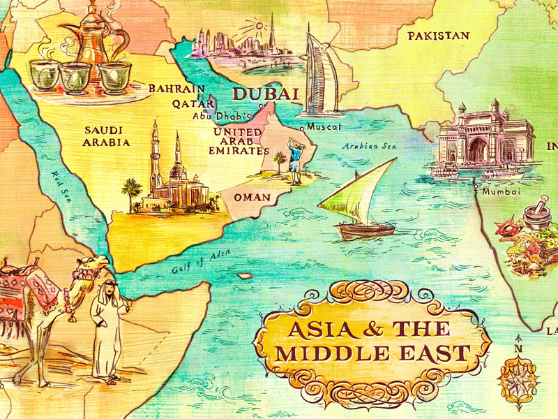 Map Of Asia Dubai.Map Of Asia And The Middle East By Jacqui Oakley On Dribbble