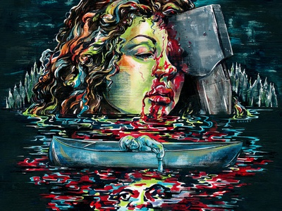 Friday the 13th illustration art horror film friday the 13th soundtrack waxwork vinyl blood lake woman packaging