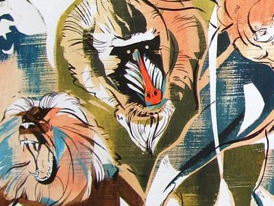 ZOO: Scenes from the Monkey Apocalypse 2 art illustration painting animals monkeys violence movement colorful ink acrylic jacqui oakley texture illustrations