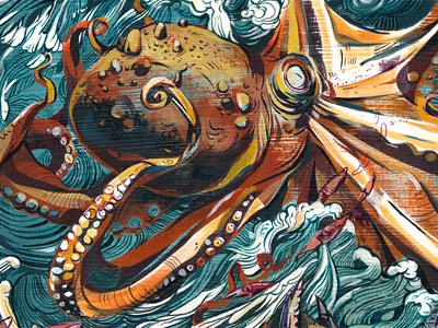 Octopus Battle! art illustration zoo painting animals sea monsters giant octopus crab violence movement colorful ink acrylic jacqui oakley texture illustrations