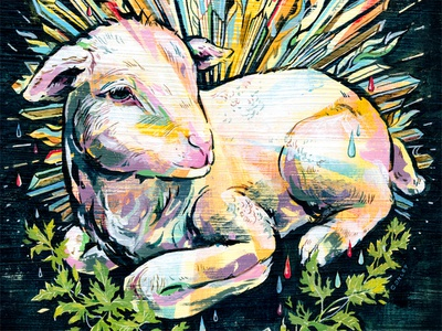 Passover Lamb  easter passover lamb painting ink illustration animal leaves rays editorial process magazine