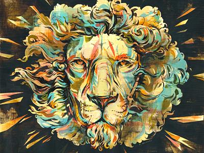 Lion (album artwork) illustration painting record album art music animals lion colorful ink acrylic jacqui oakley texture