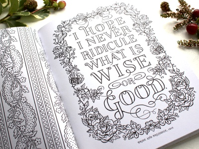 Jane Austen Quotes pattern color me jane colouring pride and prejudice wedding lettering flowers fashion ink adult coloring book jane austen