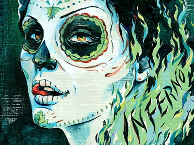 Inferno!  illustration illustrations hand-lettering type typography ink colorful texture fire woman skull designersmx day of the dead día de los muertos