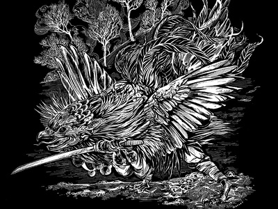 Kotengu Tengu Yokai illustration black and white toronto art halloween yokai japan feathers ink bird hyakki yako hyakki yagyo