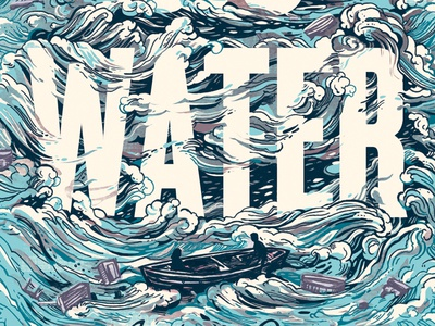 Stormy Water blue storm waves bookcover typography water pattern illustration lettering