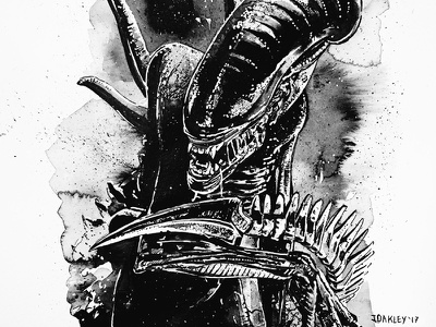 Inktober: Alien Xenomorph xenomorph ink alien ridleyscott inktober2017 inktober black and white portrait film horror halloween illustration
