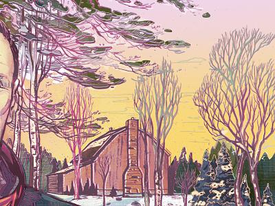 Winter in Canada canada magazine editorial illustration trees landscape snow winter