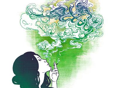 Up in Smoke woman smoking detroit medical marijuana caduceus pot marijuana magazine editorial illustration